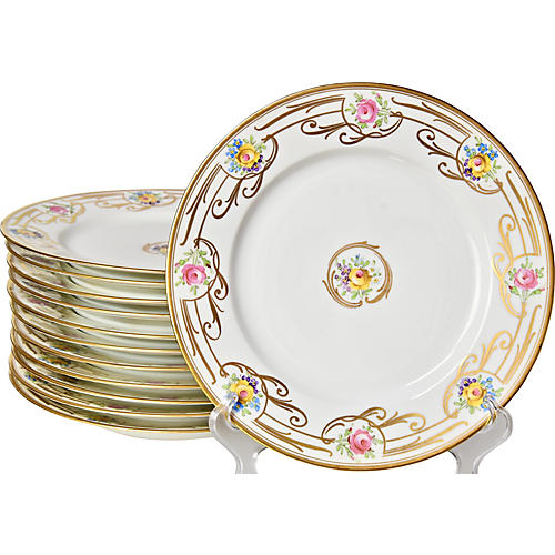Antique Dinner Plates, S/12