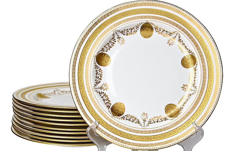 Gilded Wedgwood Dinner plates, S/11