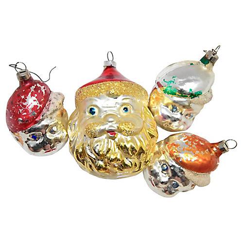 Santa & Elves Ornaments, S/4