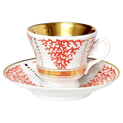 19th-C. Teacup & Saucer