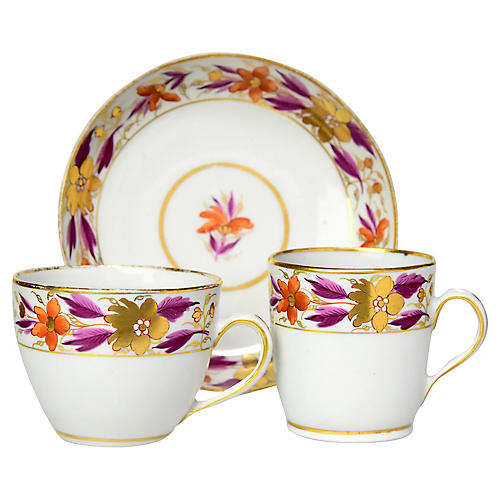 1790s Cups & Saucer Trio
