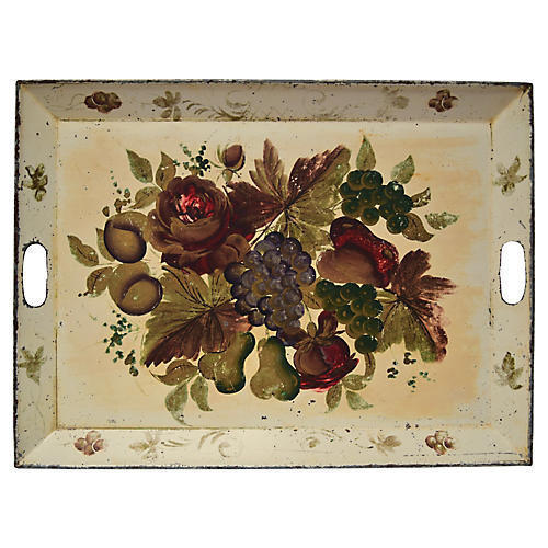 Cream Painted Tole Tray