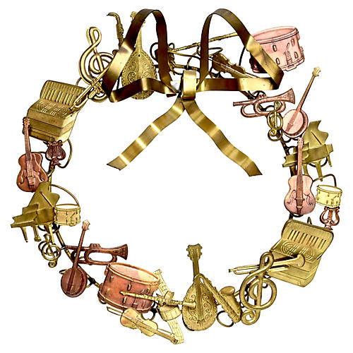 Music Instruments Brass Wreath