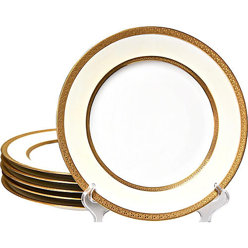 Etched Gilded Dinner Plates, S/6