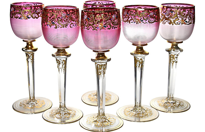 Antique Bohemian Crystal Goblets, S/6