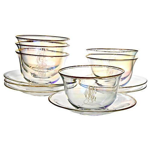 Iridescent Bowls & Underplates, 12 Pcs