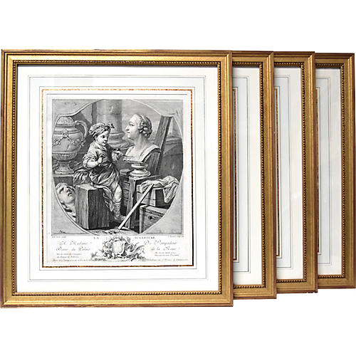 18th-C. French Engravings, S/4