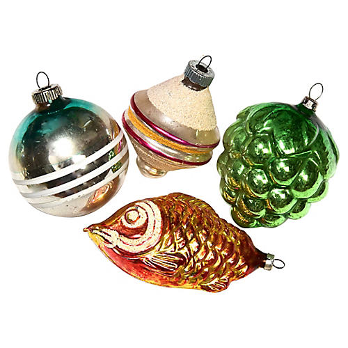 Assorted Large ornamets, S/4