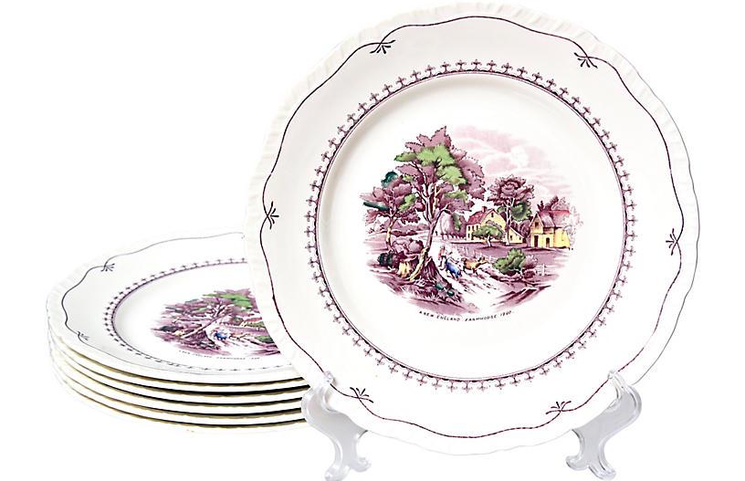Staffordshire Purple Dinner Plates, S/7