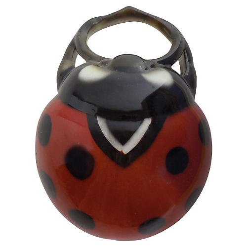 Majolica Lady Bug Wall Pocket