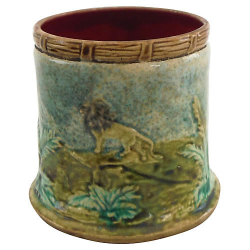 Majolica Lion & Indians Pot