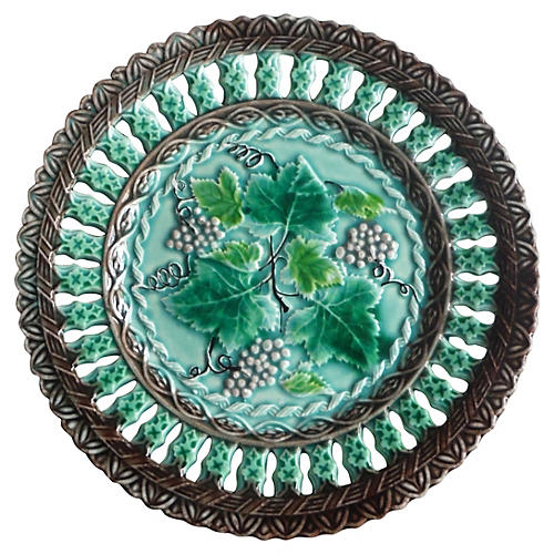 Majolica Reticulated Grapes Wall Plate