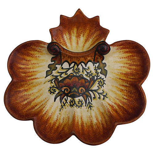 Majolica Crab Oyster Wall Plate Quimper