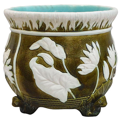 English Majolica Frog & Lily Planter