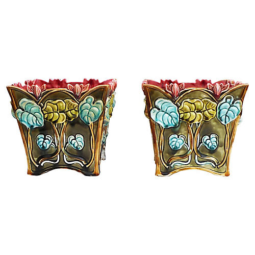 19th-C Majolica Cyclamen Cachepots, Pair
