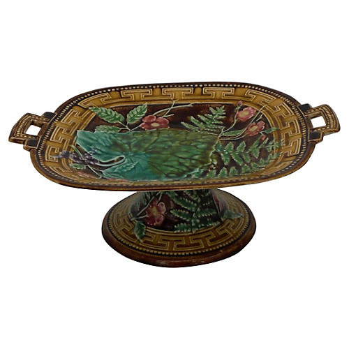 19th Majolica Leaves Cake Stand