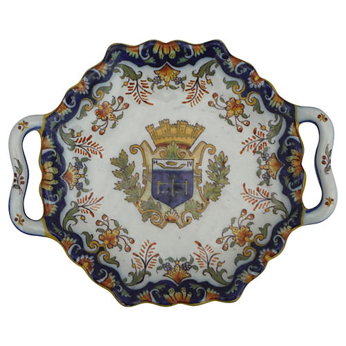 French Faience Handled Platter