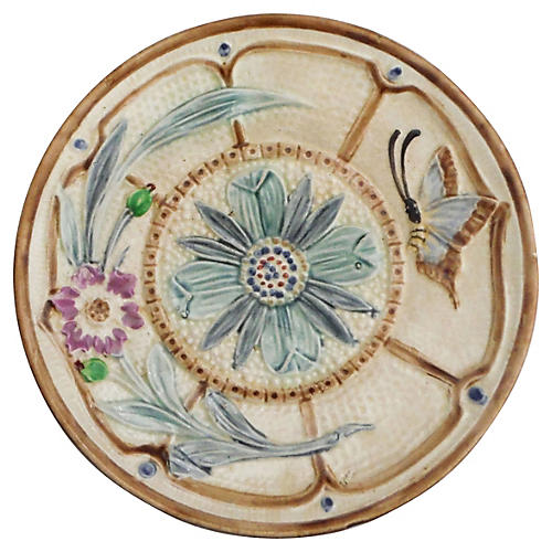 Majolica Floral Butterfly Wall Plate