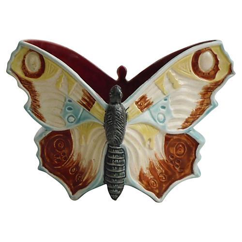 19th Majolica Butterfly Jardinière