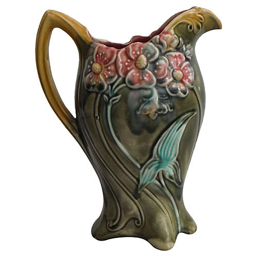 Majolica Clematis Pitcher