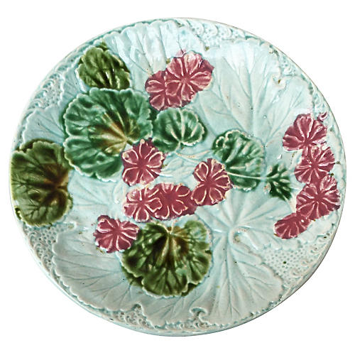 Majolica Geranium Wall Plate