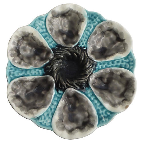 Majolica Oyster Plate