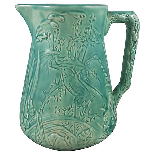 1890s Blue Majolica Birds Pitcher