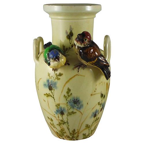 Majolica Bird Vase, C.1900