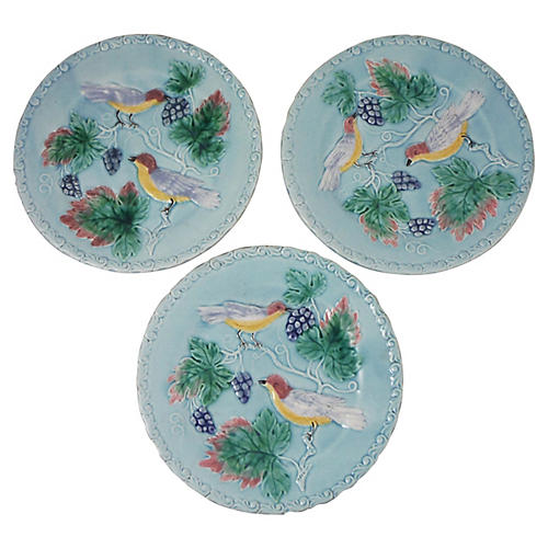 Majolica Bird & Grapes Plates, S/3