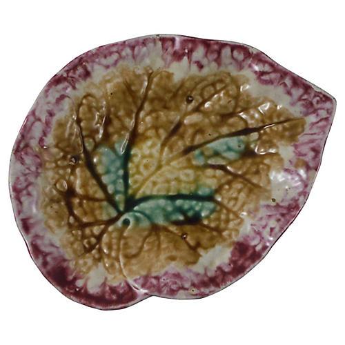 19th-C. Majolica Begonia Leaf Dish