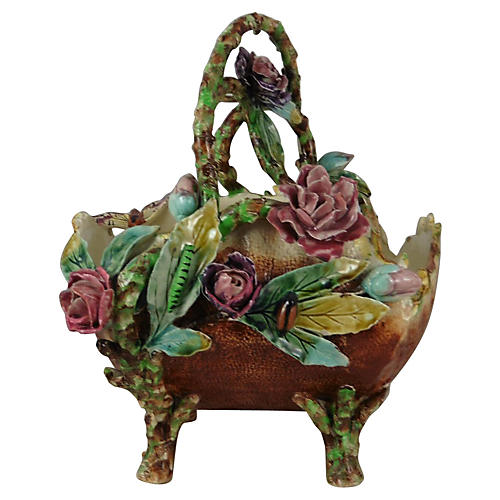 19th-C. Majolica Flowers Basket