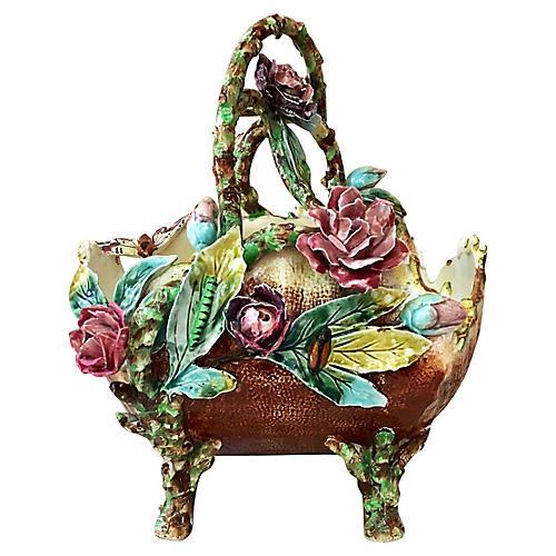 19th-C. Majolica Flowers Basket