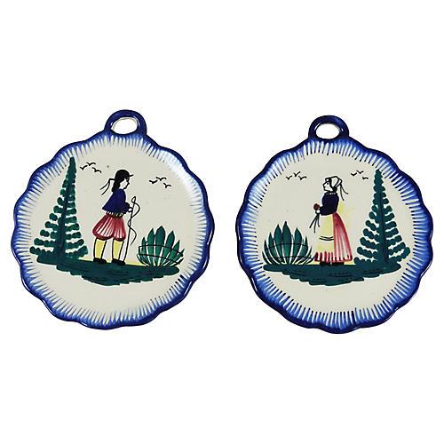 Quimper Wall Medallions, Pair