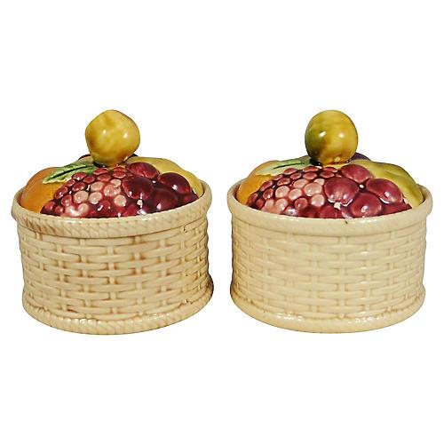 Majolica Fruit Basket Tureens, Pair