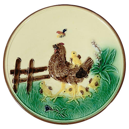 Majolica Hen & Chicks Wall Plate