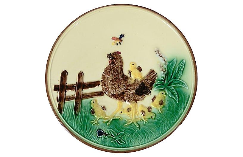 Majolica Hen & Chicks Wall Plate