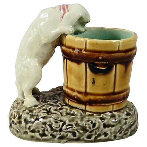 19th C. Majolica Choisy Le Roi Dog Vase