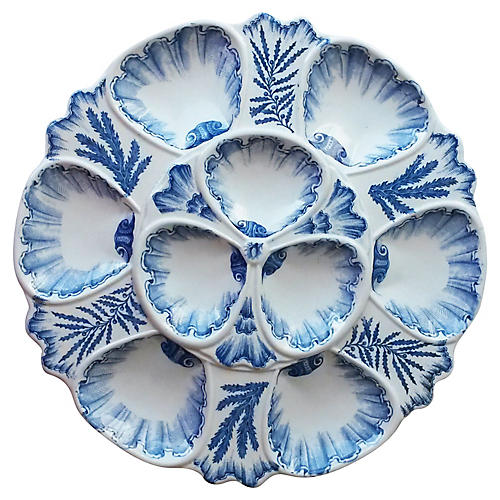Blue & White Oyster Plate