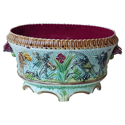 Majolica Musicians Insects Jardiniere