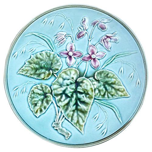 Majolica Pink Flowers Plate