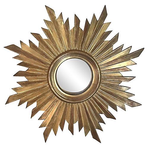 Gilded Wood Convex Sunburst Mirror