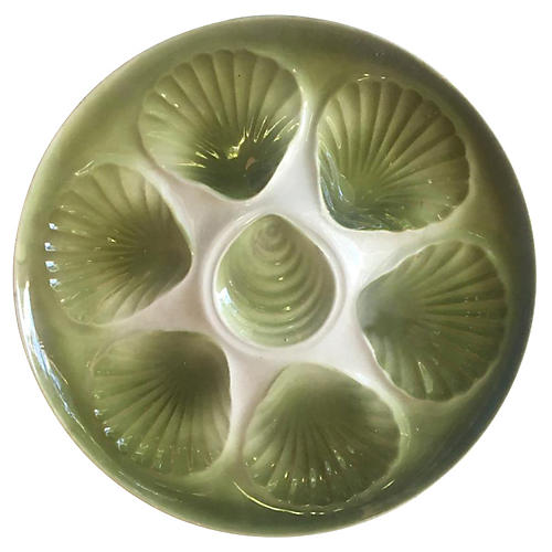 Majolica Oyster Plate Orchies
