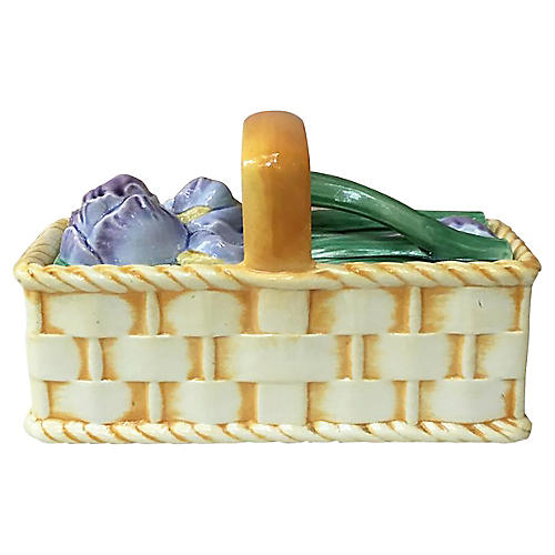 Majolica Iris Basket Sarreguemines