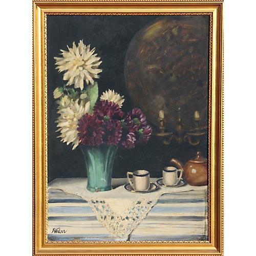 Still Life w/ Flowers by F. Weber