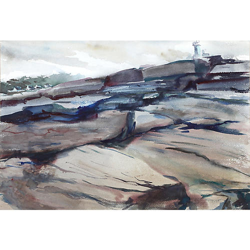Rocks and Lighthouse by Eve Nethercott