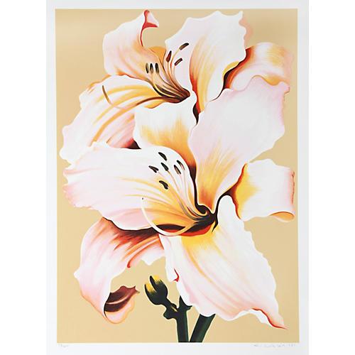 Peach Lily on Beige by Nesbitt