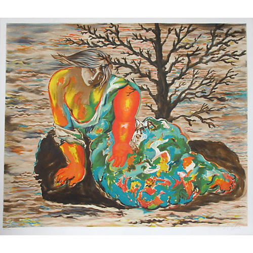 Seated Woman Lithograph by Sandro Chia