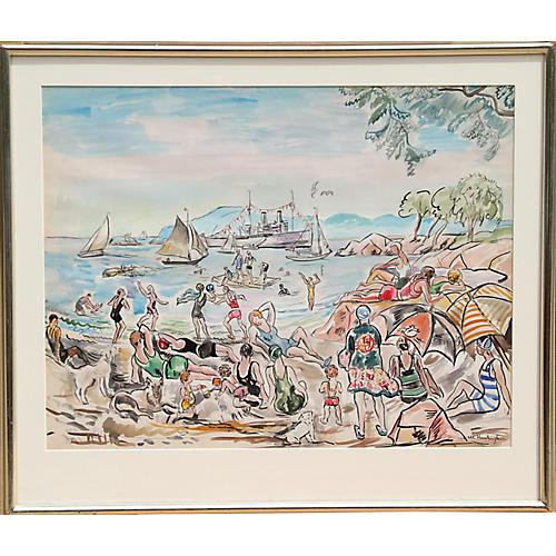 Beach Scene by Margaret W. Huntington