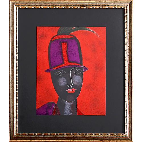 Testa con Cappello Rosso by F. Gentilini