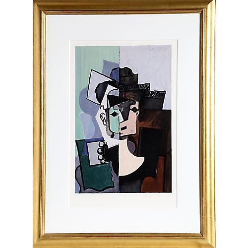 Face sur Fond Rose by Pablo Picasso